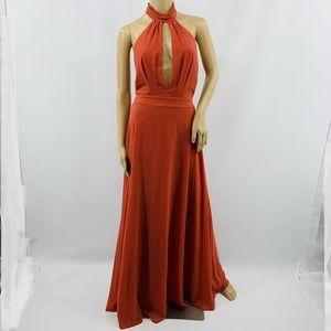 Lulu's Peach High Neck Backless Halter Maxi Dress